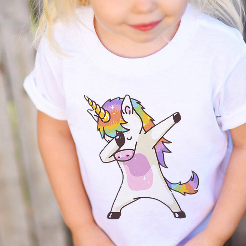Girls Tops Tee Unicorn Short-Sleeve Aesthetics Toddler Vintage Summer O-Neck New-Arrival