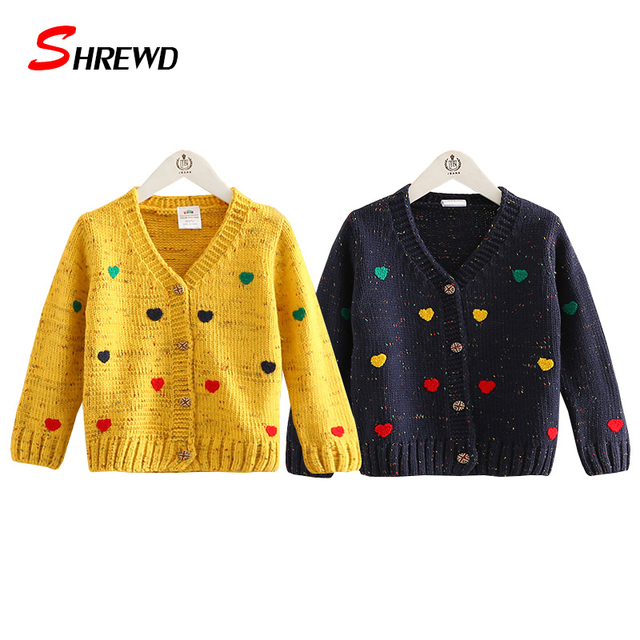 Kids Girl Sweater 2017 Autumn New Fashion Love Knitted Girls Cardigan Long Sleeve Simple Kids Clothes Girls 4527Z