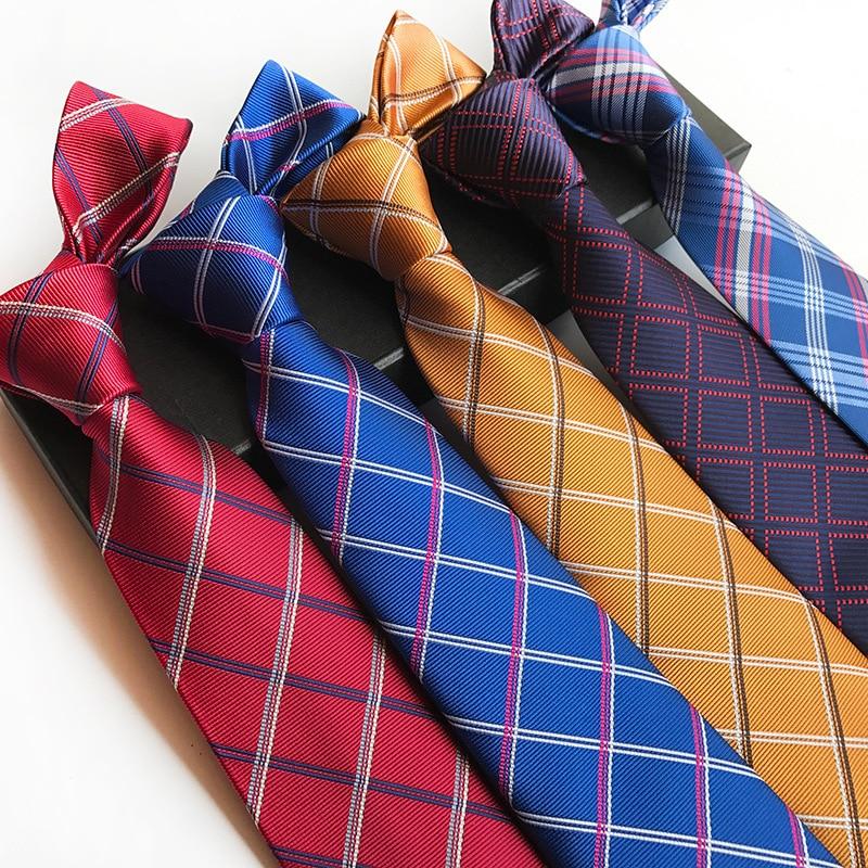 Red Blue Gray Classic Neckties Men Business Formal Wedding Ties 8cm Stripe Plaid Checks Neck Tie Fashion Shirt Dress Accessories