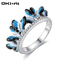 OKI NI 2017 New Arrival Enamel 925 Sterling Silver Butterfly Rings Original Luxury Jewelry Engagement Gift