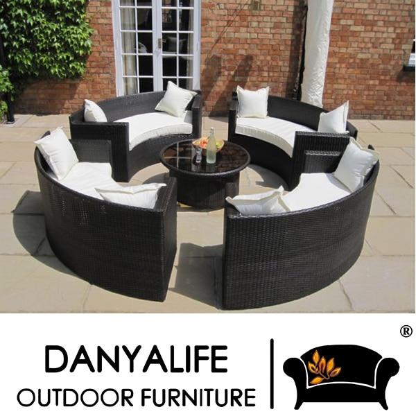 DYSF D5805 Danyalife Heißer Verkauf Poly Rattan Rund Kombination Garten  Sofa Set