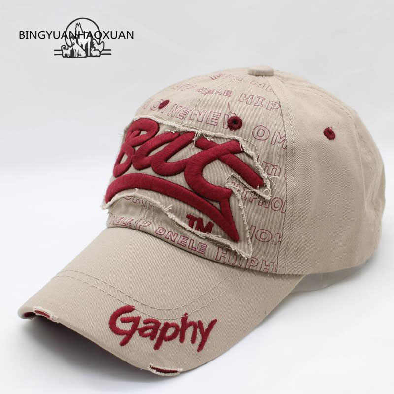 [BINGYUANHAOXUAN]Snapback Hats Baseball Cap Hats Hip Hop Fitted Cheap Hats for Men Women Gorras Curved Brim Hats Damage Cap