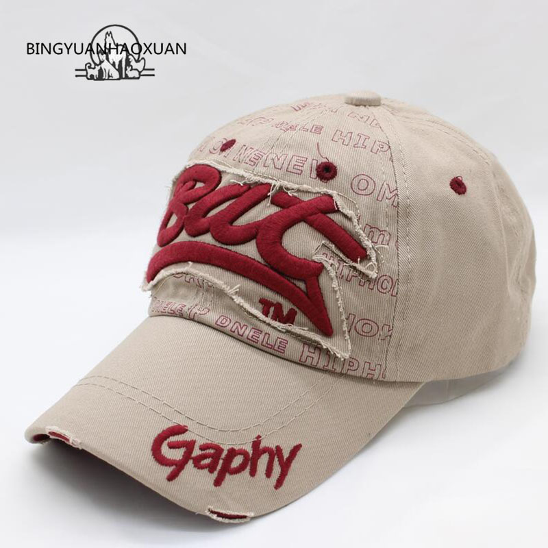 [BINGYUANHAOXUAN]Snapback Hats Baseball Cap Hats Hip Hop Cheap Hats For Men Women Gorras Curved Brim Hats Damage Cap