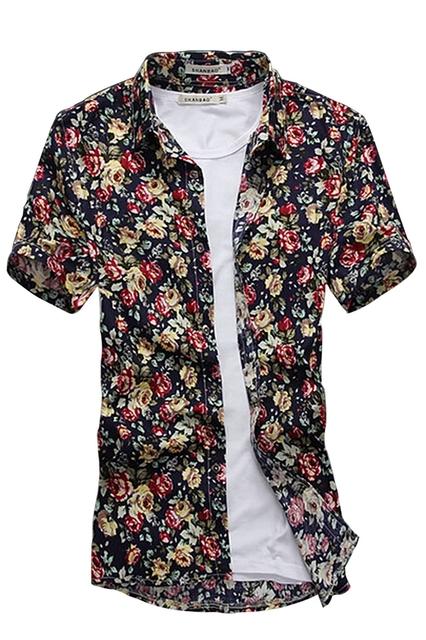 Ponto Collar Botão Manga Curta Para Baixo Padrão de Flor Camisa dos homens AZUL ESCURO