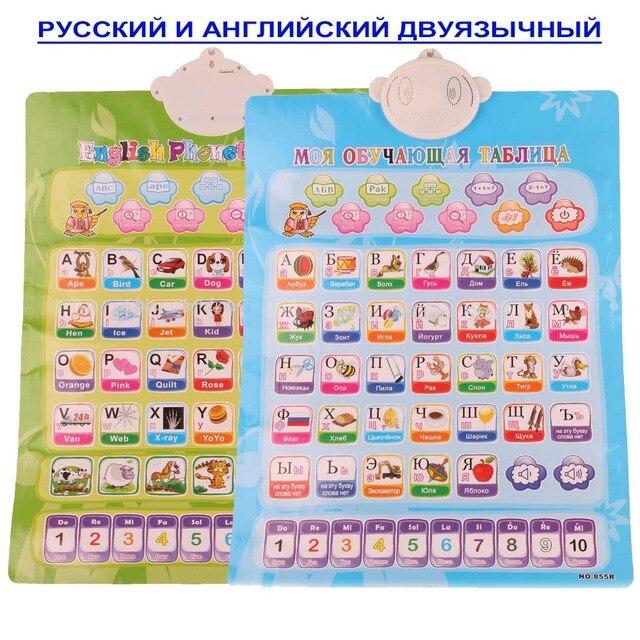 Русский и Английский Фонетические Диаграмма 2 В 1 Машинного обучения Электронные Детские Алфавит Музыка Игрушки Развивающие Раннего Язык Звук Игрушки