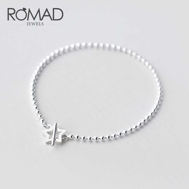 ROMAD 100% 925 Solid Real Sterling Silver Fashion Beads Heart Star Bracelet 16cm For Women Teen Girls Lady Gift Jewelry R4
