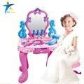 ABS plástico Simulação brinquedo Penteadeira vestir meninas miúdos conjuntos de mobília do quarto dresser Crianças playset música som luz