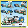 New decool 1110-1113 bricks Toy building blocks Rus mini Street view 40141/40142/40143/40144 Hotel toys 2 store Station Bakery