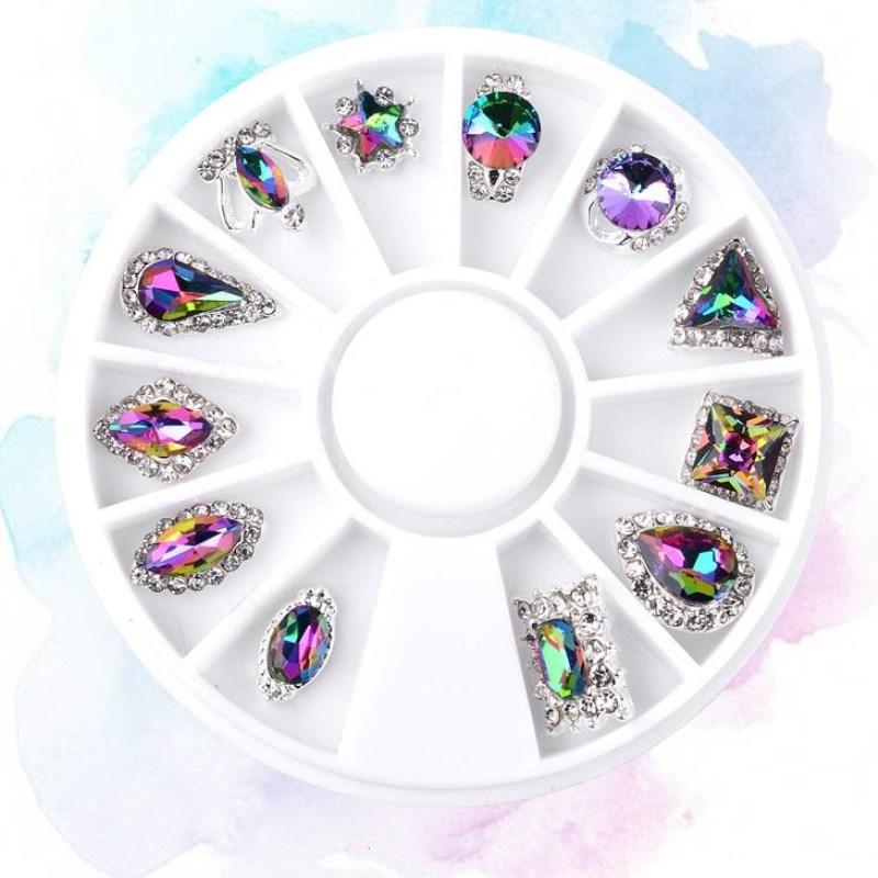 Moda Mezcla de alto grado 12 Diseño Cristal de aleación Crystal - Arte de uñas - foto 1