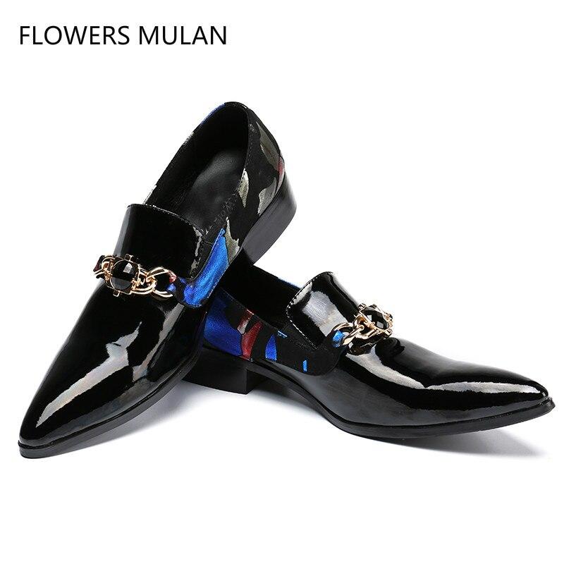 Svonces Black Patent Leather Men Dress Shoes Chains Decor Genuine Leather Slip On Wedding Shoes Men Formal Business Men Shoes