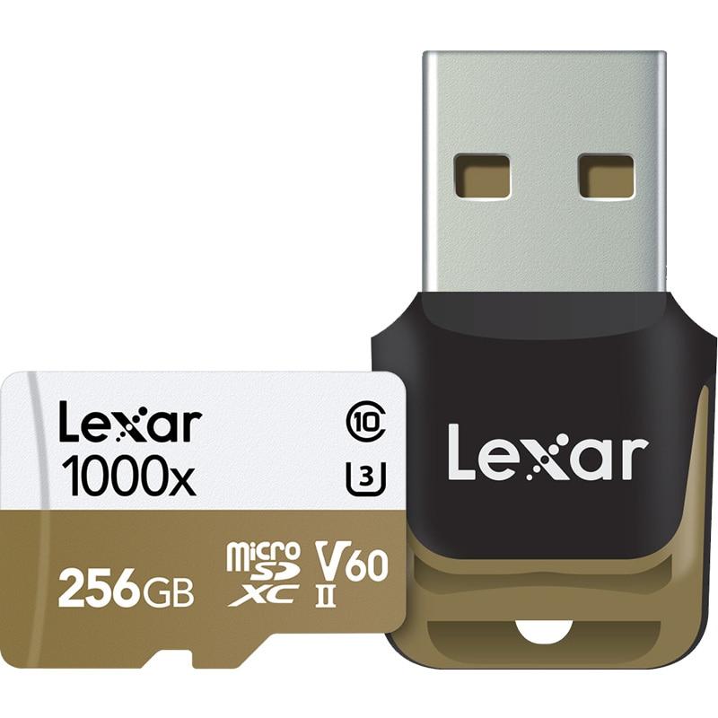HOT!!! 1000X 150MB/s Lexar 256GB 128GB 64GB 32GB Micro SD SDHC SDXC Card U3 TF Card V60 150MB/s C10 Memory Card With Card Reader