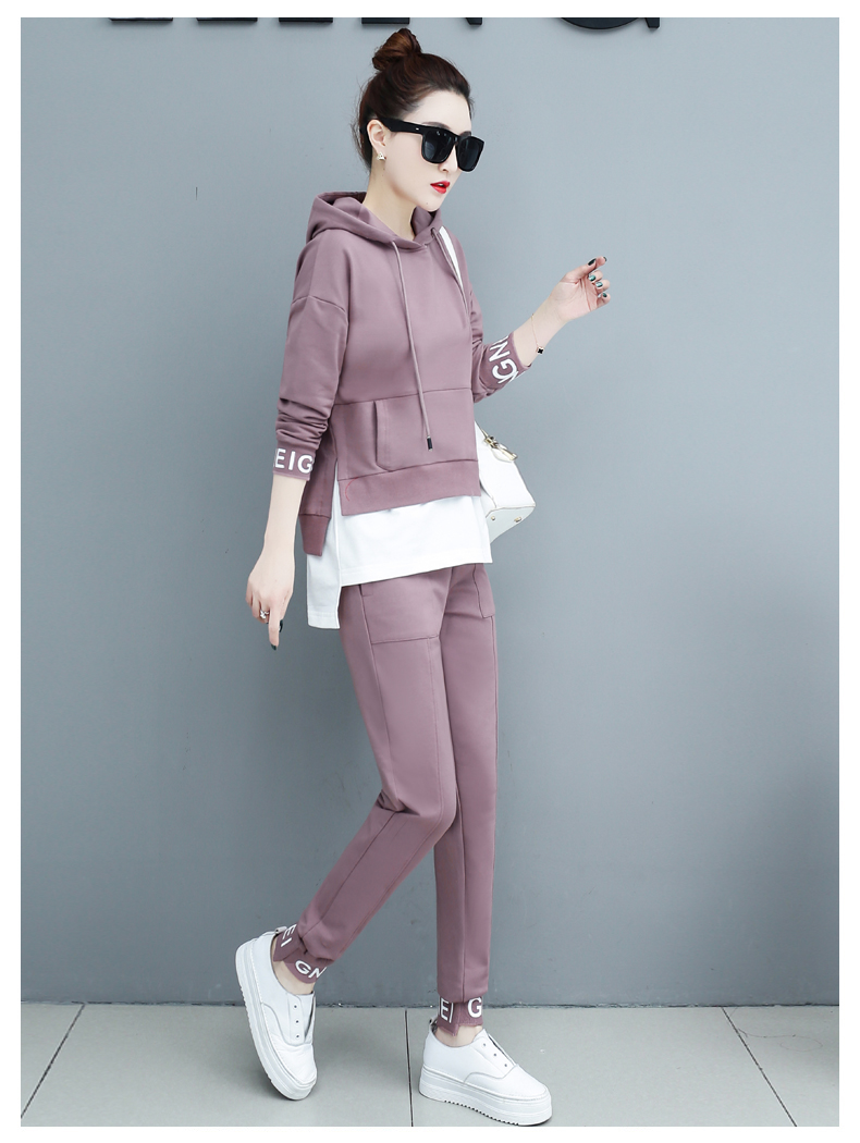 Autumn Sport Two Piece Sets Tracksuits Outfits Women Plus Size Hooded Sweatshirts And Pants Korean Casual Fashion Matching Sets 60