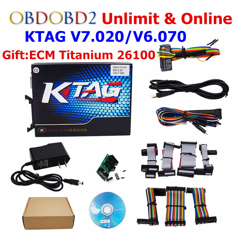 K-TAG Ktag V7.020 K TAG V2.23/KTAG V6.070 ECU Chip Tuning Tool Ktag 7.020 OBD2 ECU Programmer Unlock Limit Master Version 2017 newest ktag v2 13 firmware v6 070 ecu multi languages programming tool ktag master version no tokens limited free shipping
