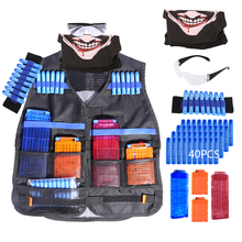 Kids Soft Bullet Tactical Vest Kits for Nerf N-strike Elite Series 40 Refill Bullets Reload Clip Face Cover Goggles Wristband