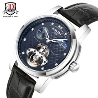 2017 BINKADAนาฬิกาผู้ชายแฟชั่นใหม่ยี่ห้ออัตโนมัติลมตนเองนาฬิกาวิศวกรรมนาฬิกาผู้ชายหนังลำลองชา...