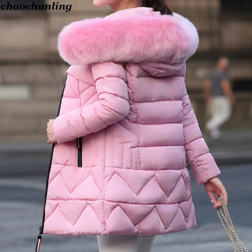 2017 New Winter Lady Hooded Jackets Lady Down Jackets Imitation Fox Fur Hat Pink ,Grey,Black,Blue,Wine Red 6Colors england style 2017 new winter lady hooded balls jackets pink red black gray and blue lady down jackets imitation fox fur hat