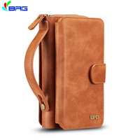 BRG For Samsung S10 S9 S8 Plus NOTE9 8 Zipper Leather Wallet Case For S7 S6 Edge S5 Removable Pouch Flip Card Back Cover Case E