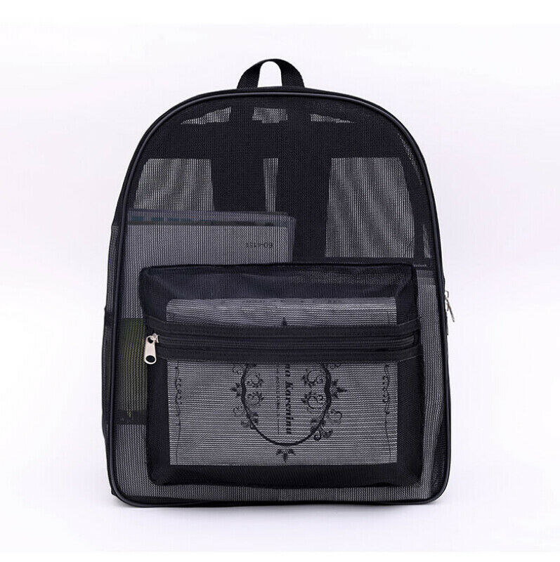 New Men Women Clear See Through Mesh Backpack Sports Pack Travel Large Bag Black