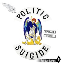 POLITIC SUICIDE PATCH Biker Vest Rider Iron On Back of Jacket Patch White twill fabric Free Shipping DIY Eco-Friendly new arrival warlocks motorcycle patch 1% biker rider vest mc embroidered iron on back of jacket patch diy g0434 free shipping