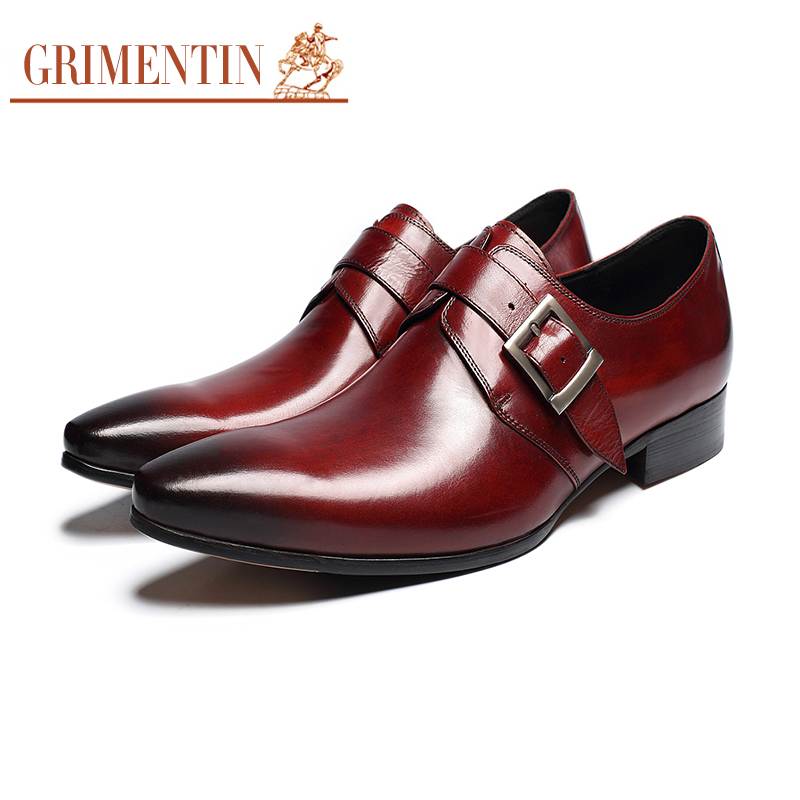 Dress Shoes Men Genuine Leather Oxford Brown Black Formal Italian Shoes Buckle Business Wedding Shoes цены онлайн