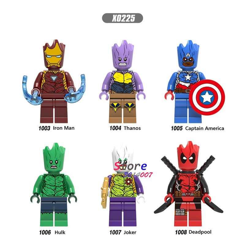 Único Infinito Série Guerra Deadpool Joker Super Herói Homem De Ferro Capitão América Hulk Thanos Figura blocos de construção de brinquedos para crianças