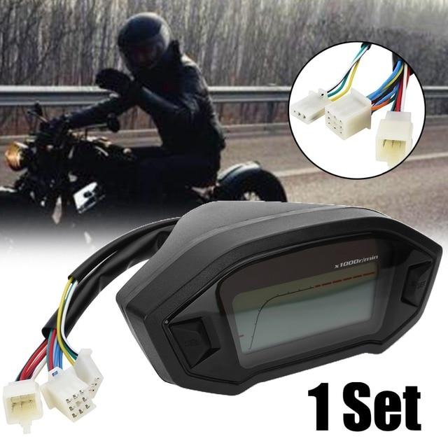 Calibres do motor 1 Definir Motocicleta LCD Digital Odômetro Velocímetro Tacômetro Indicador PARA DC Universal 12 V Motocicleta