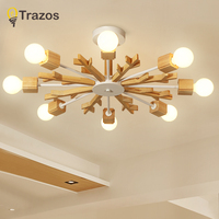 Modern Wooden snowflake ceiling lights for living room Bedroom hallway home ceiling lamp acrylic aluminum body LED ceiling Lamp