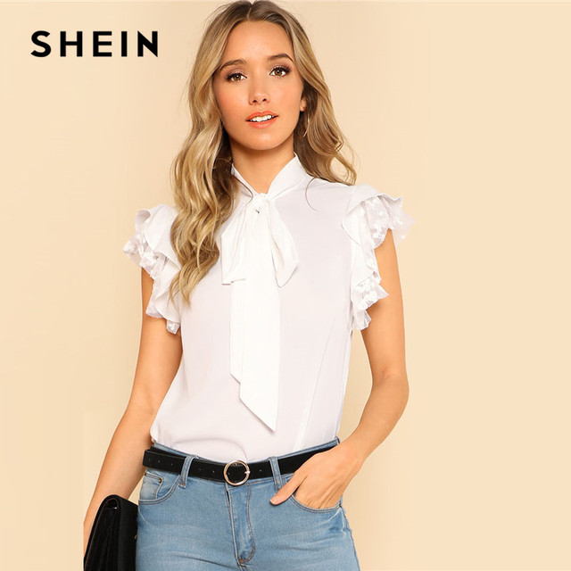 04d79511ef SHEIN White Tie Neck Bow Embroidered Mesh Ruffle Top Women Casual Stand  Collar Sleeveless Plain Blouse 2018 Elegant OL Blouse