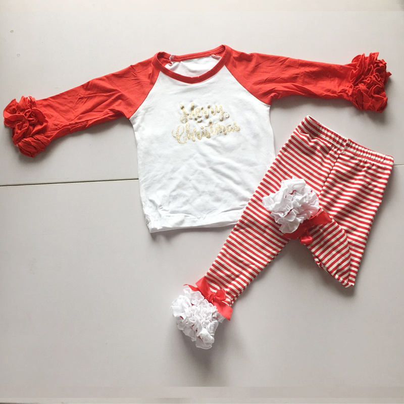 Christmas stripe leggings  with ruffle icing shirt for girls Glitter letter T-shirts children Christmas home dress girl outfits muhammad ali t shirt for girl box boxing girls t shirts