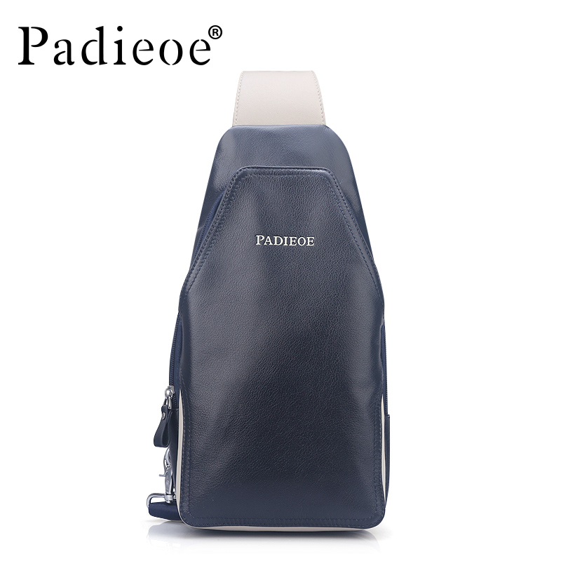 Padieoe Brand Men Chest Waist Pack Genuine Leather Handbag New Fashion Shoulder Bags Casual Crossbody Bag Designer Messenger Bag