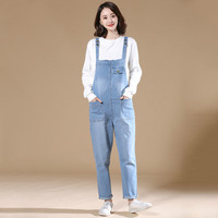 Denim Jeans Spring Women Trousers Suspenders Loose Plus Size 4xl 5xl 6xl Casual Jeans for Girls High Waist Light Blue Rompers