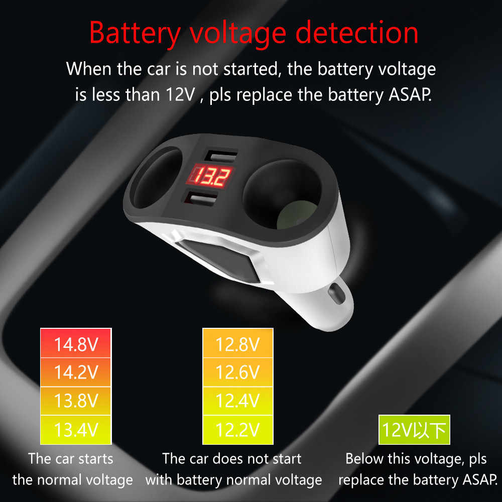 Dual USB Charge 2 Way Car Cigarette Lighter Socket Splitter Adapter Charger Auto Vehicle For Smart Phone