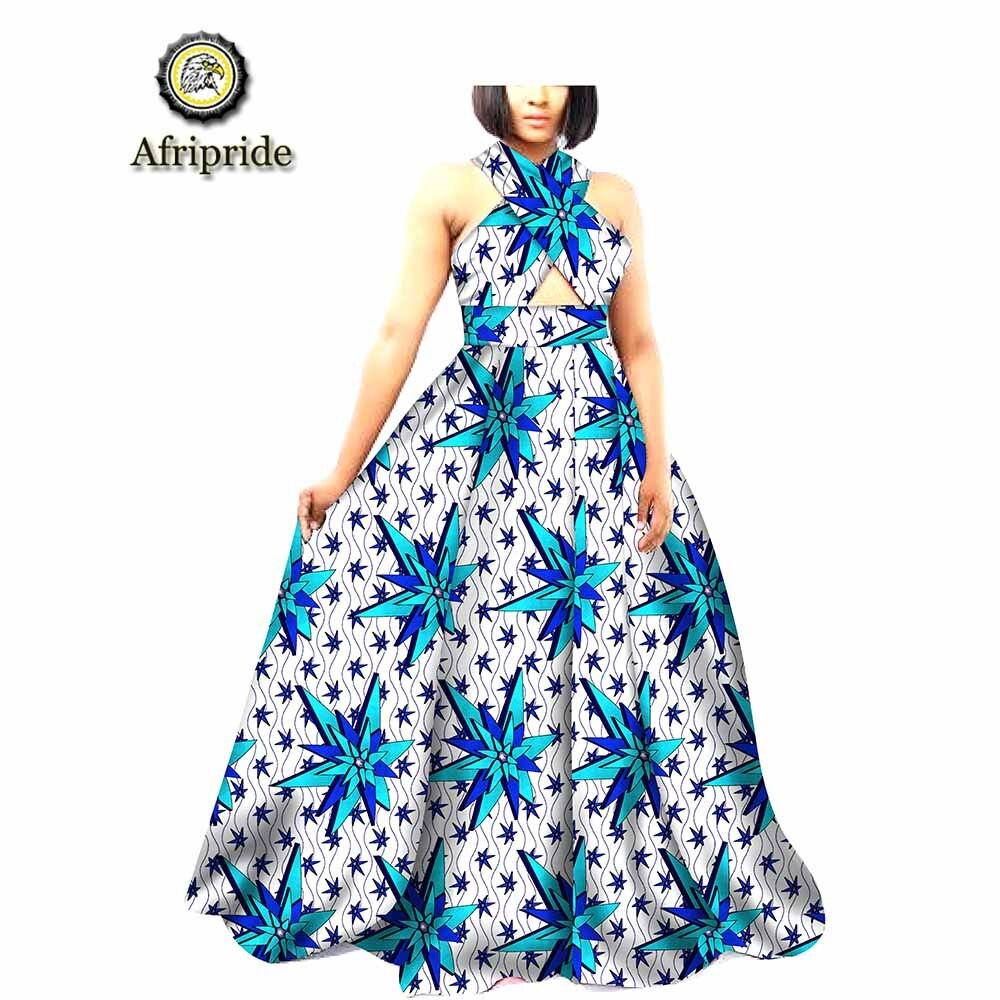 Kadın Giyim'ten Elbiseler'de 2019 afrika maxi elbiseler kadınlar için ankara baskı dashiki kat uzunluk trompet kadın parti elbise 100% pamuk AFRIPRIDE S1825056'da  Grup 1