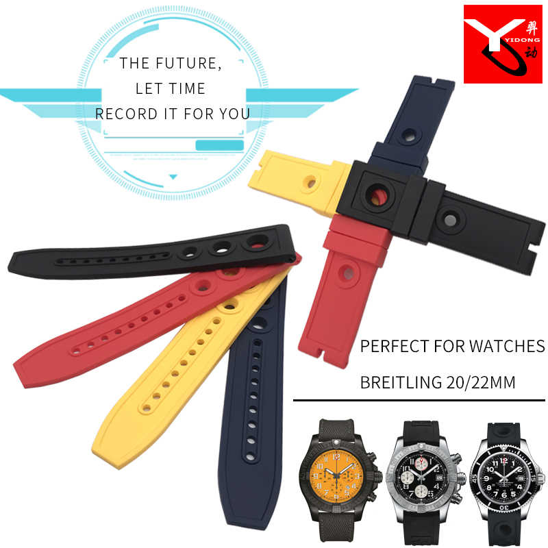 20mm 22mm Natural Silicone Rubber Watch Strap Fashion Watchband Stainless Pin Clasp Special for Breitling Wristwatch Accessories