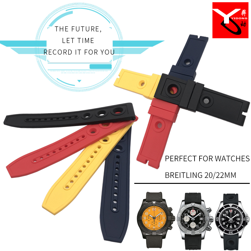 20mm 22mm Natural Silicone Rubber Watch <font><b>Strap</b></font> Fashion Watchband Stainless Pin Clasp Special for <font><b>Breitling</b></font> Wristwatch Accessories image
