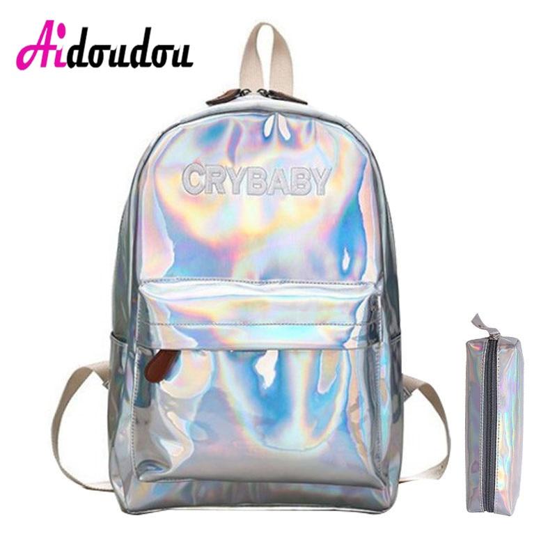 Female Holographic Laser Silver Backpack Batoh Hologram Laser Schoolbags Pack Bag Mochila Feminina Backpacks For Girls Teenagers