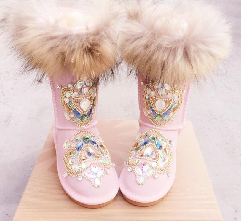 Choudory Hot Light Pink Genuine Leather Mid-Calf Boots Is Hand Crytal Snow Boots Round Toe Flat With Women's Shoes 2017 latest men s mid calf boots genuine leather buckle strap round toe men s leather shoes chakku motorcycle boots