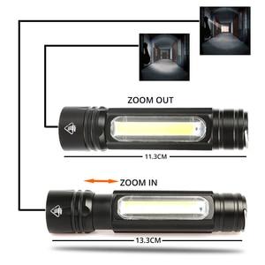 Image 4 - Многофункциональный светодиодный светильник вспышка с USB внутри, перезаряжаемый аккумулятор, Мощный T6 фонарь, боковый COB светильник, дизайнерский фонарь, задний фонарь