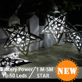 Battery Operated Warm White LED Fairy Light 40 Metal Star String Decoration Light for Festival Halloween Christmas Party Wedding