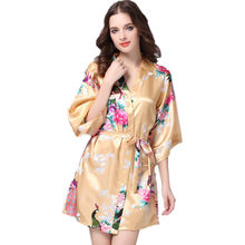 cdf6dd1e0b0 Brand Gold Female Printed Floral Kimono Dress Gown Chinese Style Silk Satin  Robe Nightgown Flower S M L