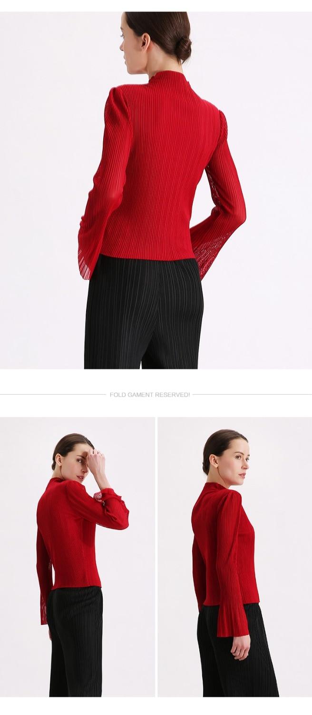 Roulé Stock Col Femmes shirt À Livraison Longues T Nouveau Sexy Manches Miyake Gratuite Mode Bourgogne Fold En qzxCUHvw