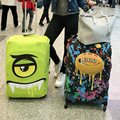 Designer de Cobertura de Bagagem Elástica para 18-30 Polegada Mala Trolley Bagagem Tampas de Proteção Zip Grandes Olhos Dos Desenhos Animados Chuva Viagem cobrir