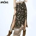 Aproms mulheres boho saia longa vintage phoenix floral impressão de cintura alta saia midi preto desdobramentos praia saias faldas largas jupe