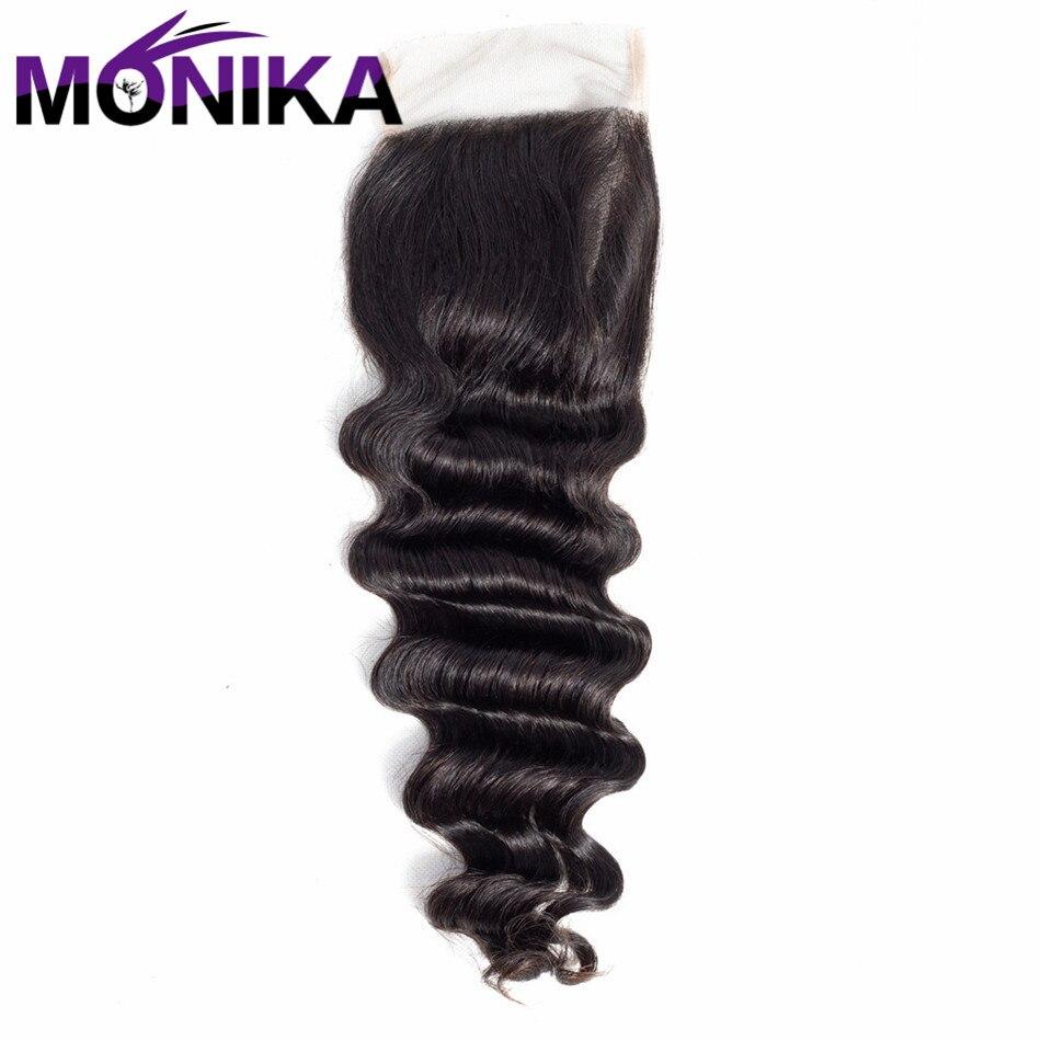 Monika Malaysia Hair Loose Deep Wave 4*4 Lace Closure Swiss Lace Non Remy 100% Human Hair Closure Natural Color