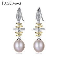 PAG&MAG Brand Luxury 925 Sterling Silver Wedding Earrings 10-11mm Natural Pearl Vintage Earrings Jewelry for Women Earrings