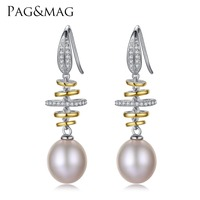 PAG MAG Brand S925 Sterling Silver Earrings With 10 11mm Natural Pearl Earrings For Women Vintage