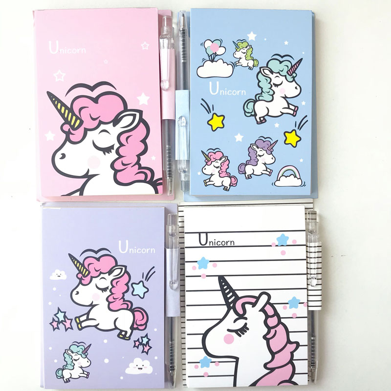 Kawaii Unicorn Portable Memo Pad With Pen Student Paper Stationery School Office Supply Notepads