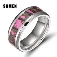 8mm Men S Titanium Ring Pink Forest Camo Camouflage Comfort Fit Wedding Band