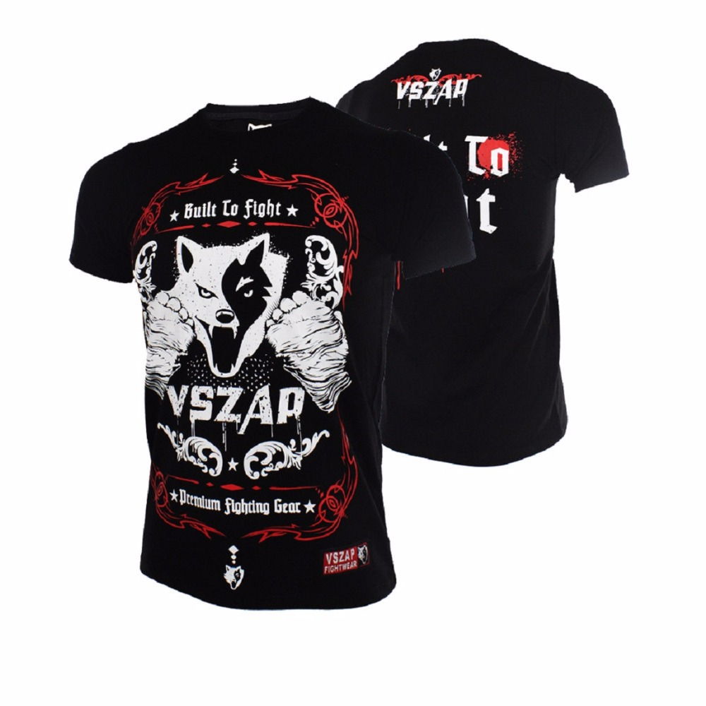 VSZAP Boxing Jerseys Fight MMA T-Shirt Gym Tee Shirt Boxing Fitness Sport Muay Thai Cotton Breathable Comfortable T Shirt Men