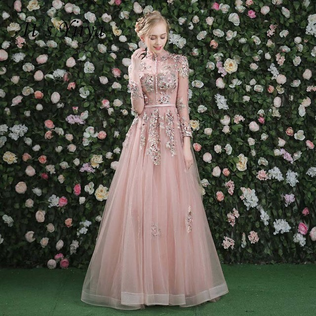 It's Yiiya Evening Dress Pink Long Sleeves Floral Print Lace Up A-line Floor Length Party Gown Evening Gowns Prom Dresses LX028